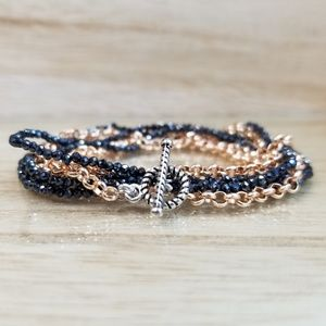 Double Row Rose Gold Wrap Bracelet With Spinel